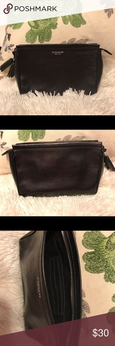 Purse Small black leather coach clutch. Has a place for credit cards. Coach Bags Clutches & Wristlets