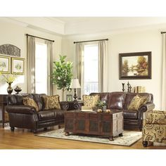 Lancaster-Traditional Genuine Leather Sofa Couch & Loveseat Set Living Room New Leather Living Room Set, Leather Living Room Furniture, Dining Room Furniture, Living Room Sets, Living Room Chairs, Living Room Decor, Couch And Loveseat Set, Sofa Set, Couch Sofa
