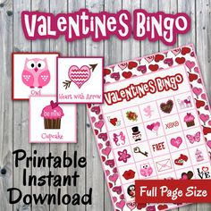 Valentines Day Bingo Printable PDF - 30 different Cards - Half Page Size - Valentines Memory Game - Slumber Party Crafts, Craft Party, Diy Party, Party Ideas, Valentine Bingo, Valentines Day Party, Valentine Ideas, Valentine Crafts, Dinner Party Games
