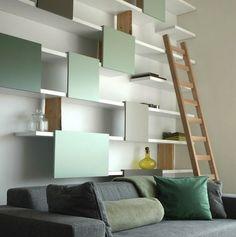 Contemporary High Loft Wall Shelf Designs by Ontwerpduo : contemporary wall shelf designs. Ikea Floating Shelves, Hanging Shelves, Open Shelves, Sliding Shelves, White Shelves, Floating Wall, Loft Wall, Esstisch Design, Muebles Living