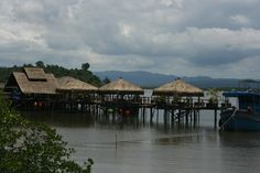 Thmorda Crab House - Seafood Restaurant in Koh Kong, Cambodia built entirely on stilts above the Kah Bpow River