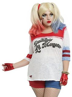 DC Comics Suicide Squad Daddy's Lil Monster Girls Raglan Plus Size Pre-Order, IVORY