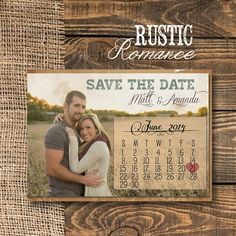 Rustic Save the Date Postcard with calendarRed & by TheItDesign Save The Date Invitations, Save The Date Postcards, Wedding Invitations, Rustic Save The Dates, Wedding Save The Dates, Klein Tool Bag, Specialty Paper, Simple Designs, Engagement Photos