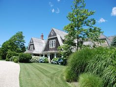 Hamptons summer beach house, cedar shingle, gambrel roofline, hydrangea heaven!