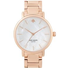 Women's Kate Spade New York 'Gramercy' Bracelet Watch ($225) ❤ liked on Polyvore featuring jewelry, watches, rosegold, watch bracelet, kate spade jewelry, kate spade watches, bracelet watch and kate spade