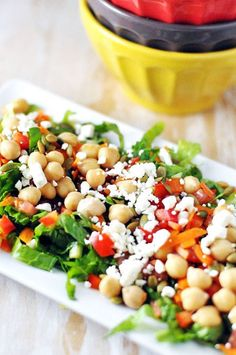 chickpea, pumpkin seed & feta salad  Here is a great recipe for your pumpkin seeds!