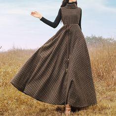 2018 New Autumn Fashion Vintage Wool Vests Dress Elegant High Collar Striped Plaid Sleeveless Women Dresses Winter Basic Drtess Old Fashion Dresses, Modest Fashion, Hijab Fashion, Fashion Outfits, Stylish Dresses For Girls, Nice Dresses, Casual Dresses, Vintage Dresses, Vintage Outfits