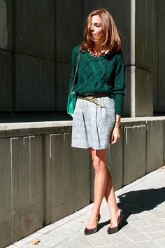 #green #skirts Street Style