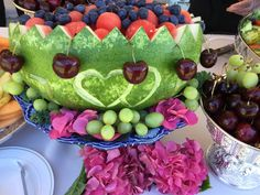 Beautiful fruit platter carved from a watermelon