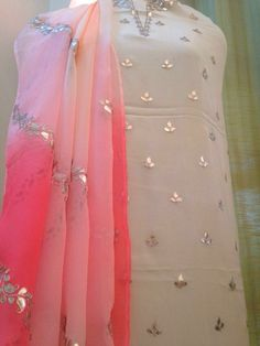 White and pink with gotta patti work Indian Suits, Indian Attire, Indian Dresses, Indian Wear, Pakistani Dresses, Designer Punjabi Suits, Indian Designer Wear, Designer Anarkali, Kurta Designs