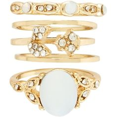 New Look Gold Opal Diamante Rings (€5,96) ❤ liked on Polyvore featuring jewelry, rings, gold, opal rings, gold jewellery, gold opal ring, yellow gold opal ring and diamante jewelry