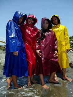 Blue, Red, Burgundy, and Yellow PVC Hooded Raincoats