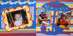 Girl or Boy Scrapbook Page - 2 page Beach layout for a  baby with a beach umbrella, sailboat, pail and shovel - from Everyday Life Album 7