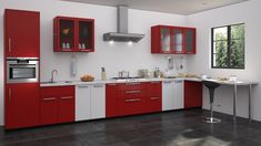 #cabinets #kitchen #coimbatore #KovaiKothanar #kitchendesign #interiordesign #kitchencabinets #design #kitchenremodel #homedecor #furniture #woodworking #cabinetry #customcabinets #home #cabinet #renovation #interior #countertops #remodel #wood #kitchendecor #construction #kitchenrenovation #homedesign #interiors #bathroom #contractor #designer #cabinetmaker Red And White Kitchen Cabinets, Black And Red Kitchen, Red Kitchen Walls, Black Kitchen Decor, Kitchen Cabinet Design, Interior Design Kitchen, Home Design, Kitchen Designs, Design Ideas