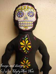 Day Of The Dead Sugar Skull Fabric Altar Doll by by uglyartdotnet, $45.00