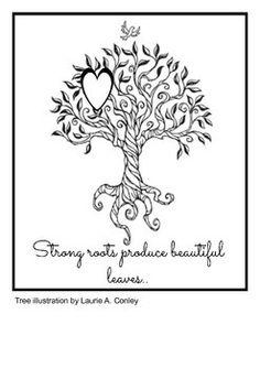 Grandparents Appreciation Card. Montessori Nature Blog. Tree illustration by Laurie A. Conley