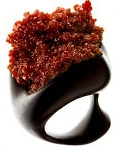 Christine Brandt ring, made with African Black Ebony and Vanadinite,
