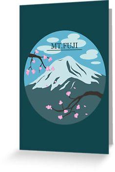 Mt. Fuji (Blue) Card #fuji #japan #sakura #cherryblossom #mountfuji