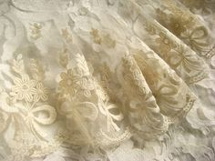 Ivory embroiderd gauze lace with cotton bows flowers, vintage bridal gown lace fabric