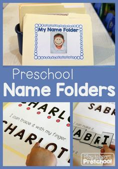 These portable Name Folders offer 4 different hands-on ways for children to practice recognizing, spelling and writing their names. via @PlayToLearnPS