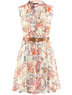 Delicate V Neck Sleeveless Print Chiffon Summer Dresses(With Belt)