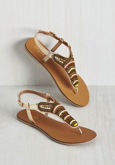 Hello, Mumbai Sandal. Greet your next adventure abroad with these shiny sandals! #gold #modcloth