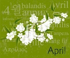 iCLIPART - Royalty Free Clipart Image of an April Page With Flowers