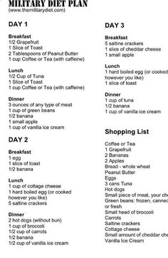 The 3 Week Diet - 3 Day Military Diet Plan - Menu Grocery List Check out the website for more. - THE 3 WEEK DIET is a revolutionary new diet system that not only guarantees to help you lose weight The Plan, How To Plan, Plan Plan, 2 Week Diet Plan, Diet Plan Menu, Weekly Diet Plan, Model Diet Plan, Egg Diet Plan, Diet Meal Plans