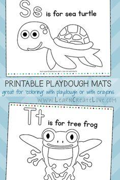 Printable Playdough Mats: S & T from LearnCreateLove