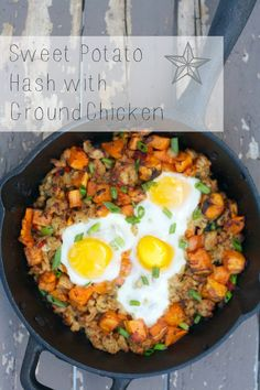 A healthy sweet potato hash made with extra lean ground chicken. Perfect for getting more veggies into your breakfast or homestyle dinner. Chicken Breakfast, Breakfast Time, Breakfast Recipes, Diet Recipes, Cooking Recipes, Healthy Recipes, Healthy Sweets, Healthy Foods, Ground Chicken Recipes