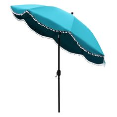 Aluminum Teal Crank And Tilt Outdoor Scallop Pom Pom Umbrella/Fringe, 9' | At Home Outdoor Projects, Outdoor Decor, Aluminum Patio, Patio Table, Circle Design, At Home Store, Tilt, It Cast, Backyard
