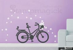 Bike Wall Decal Bicycle Wall Decal with Flowers by stampmagick