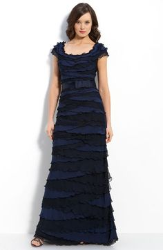 Tadashi Shoji Tiered Chiffon & Lace Gown available at Nordstrom
