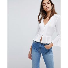 Missguided Button Detail Peplum Blouse (8.394 KWD) ❤ liked on Polyvore featuring tops, blouses, white, white ruffle top, crop blouse, peplum top, v neck blouse and white peplum blouse