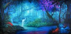 Explore the depths of #TheatreWorld's magical CHIMERA JUNGLE. Resplendent with blues and greens mixed with reds and purples, this river in the forest seemingly flows from another world. What marvelous adventures await in the Chimera Jungle! #scenicbackdrops #rentals #handpainted #fantasy #peterpan #midsummernightsdream #magical