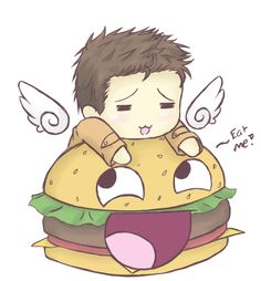 Supernatural - Castiel Burger. *-* omg I'm not usually into chibi stuff but this is a Castiel chibi.