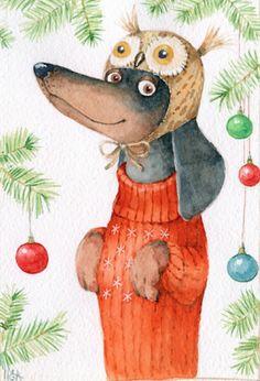 Dachshund – Friendly and Curious Illustration Inspiration, Dog Illustration, Christmas Illustration, Illustrations, Christmas Drawing, Christmas Dog, Merry Christmas, Saint Yves, Dachshund Art
