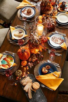 Whether your inspiration for fall entertaining begins with the perfect table runner, a colorful set of napkins, a new dinnerware pattern or this inviting tablescape prepared by our Pier 1 stylists, we have plenty of fresh finds to whet your creative appet Fall Table Settings, Thanksgiving Table Settings, Thanksgiving Centerpieces, Holiday Tables, Christmas Tables, Easter Centerpiece, Easter Decor, Thanksgiving Crafts, Rustic Thanksgiving