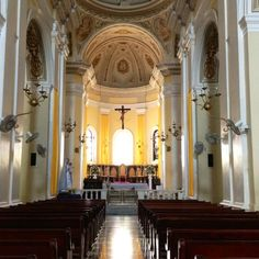 This is a picture of the nave inside the San Juan Cathedral, the church's interior and exterior are constantly being renovated and restored.