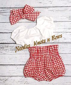 Girls 2 piece Red Gingham HIgh Waist Bloomers with a white crop top and your choice to add on a headwrap. This is available in sizes from Newborn upto a sizes 4