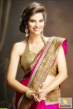 Dark #Pink and Golden #Bollywood #Sarees #Collection