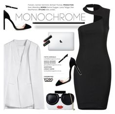 """""""MNCHRM"""" by purpleagony ❤ liked on Polyvore featuring Alice + Olivia, Bobbi Brown Cosmetics, Spring, monochrome, blackandwhite, polyvoreOOTD and yoins"""