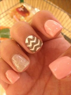 Sparkly Summer Nails With Chevron Design