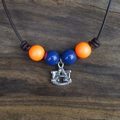 University of Auburn Necklace - Collegiate Necklace - Orange & Blue Beaded Necklace with Auburn Pendant by Ginaspearls on Etsy
