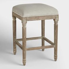 An elegant take on a classic, our Charcoal Linen Paige Backless Counter Stool is crafted of American white oak with carved details and a distressed finish. Pull this exclusive linen upholstered stool up to the bar or kitchen for a stylish seating update. Contemporary Dining Room Sets, Dining Room Furniture Sets, Furniture Ideas, House Furniture, Room Chairs, Wood Furniture, Modern Furniture, New Kitchen Designs, Kitchen Ideas