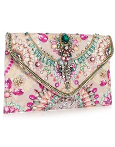 Digi Gem Clutch  £35.00  Beautiful and unique envelope jewelled clutch with a gem printed base scattered sparkling gems and chain detail embellishment, satin lining and inner pocket.