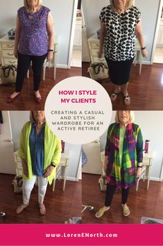 This client didn't want to look dowdy and she wanted to appear stylish and casual for active lifestyle as a retiree. Wardrobes, What To Wear, Style Me, That Look, Lifestyle, Stylish, Casual, Outfits, Clothes