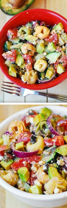 Greek Tortellini Salad with Tomatoes, Avocados, Cucumbers | Mediterranean salad, appetizer, gluten free recipe