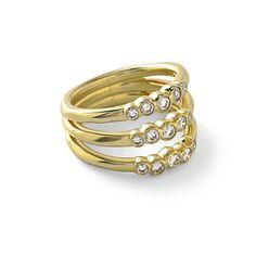 Glamazon� 18K Gold Stardust Bezel-Set Triple Starlet Ring