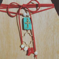 Check out this item in my Etsy shop https://www.etsy.com/listing/486332318/red-choker-turquoise-and-small-cross